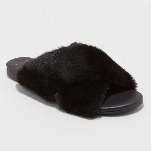 Frannie Crossband Faux Fur Slide Sandal- A New Day